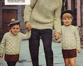 Vintage knitting pattern - Irish Cable Sweaters for the whole family - pdf download - 70s