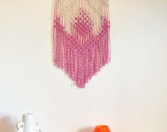 Macrame Wall Hanging - Tribe, Pink Dip Dye