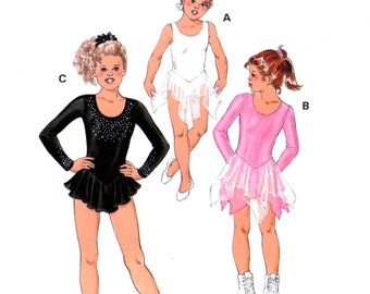 90s Kwik Sew 2733 Ice Skating, Dancing, Gymnastics, Long Sleeved or Sleeveless Leotards with Attached Skirt Trimmed Sewing Pattern Size 8-12