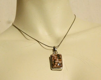 Ocean Jasper pendant with sterling setting and chain