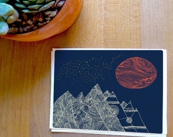 Fine Art Mountain and Moon Card