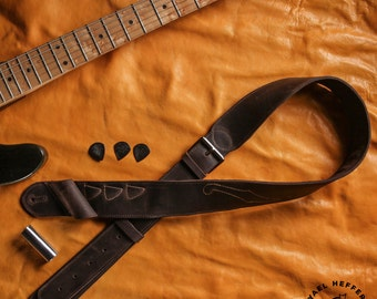 Dark Brown Leather Guitar Strap, Guitarist Gift, Guitar Accessories, Bass Strap, Rocker Gift, Acoustic Electric Guitar Player, Musician Dad