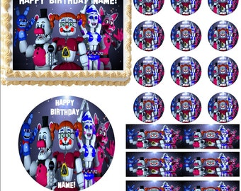 Five Nights at Freddy's Sister Location Edible Cake Topper Image, Edible Frosting Sheet, Cake Decoration, FNAF Cupcakes, Ballora Cake, FNAF