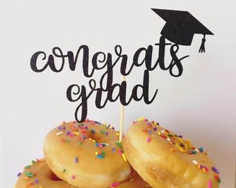 Congrats Grad Glitter Cake Topper, Graduation Cake Topper, College Graduation, High School Graduation Cake Topper