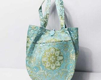 Gorgeous Light Blue Handmade Teardrop silk brocade purse handbag