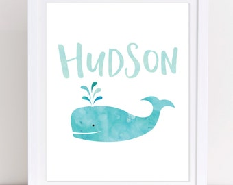 Preppy Whale Art Etsy