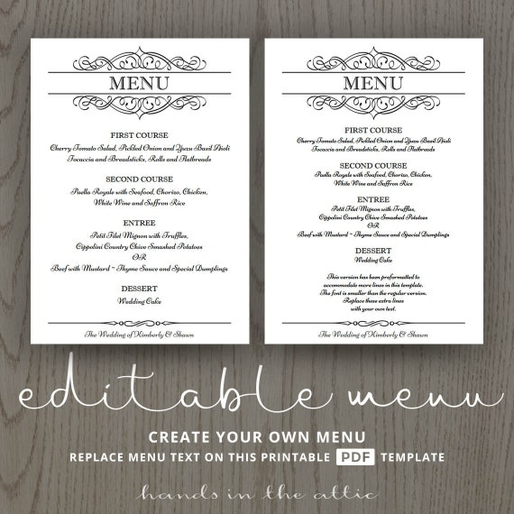 elegant wedding menu template editable wedding menu card. Black Bedroom Furniture Sets. Home Design Ideas