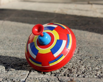 Spinning Top - Vintage Metal Spinning Top Toy - Old Spinning Tin Top - Soviet Spinning Top Toy - Childrens Room Decor