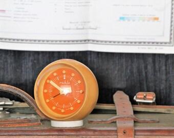 Alarm Clock Ruhla - Vintage Orange Clock - Retro Clock Made In East Germany - Mechanical Desk Clock - Table Clock - Rare Clock - Small Clock