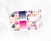 Happy Birthday Sidebar/Date Cover/Deco - Matte or Glossy Erin Condren Planner Stickers -