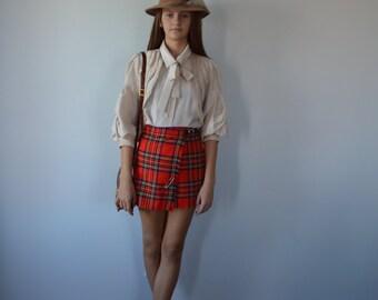 Vintage Plaid Mini Skirt, Borderglen, 1980s Plaid Skirt, Mini Plaid Skirt, Youth Skirt, Kilt