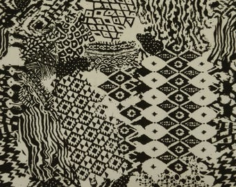 """Abstract Printed Fabric, Dress Material, Sewing Fabric, White and Black Fabric, 58"""" Inch Rayon Fabric By The Yard ZBR461A"""
