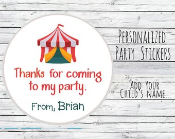 Personalized 12 Circus Tent Stickers Party Favor Labels, First Birthday, Birthday Party, Circus Birthday, Baby Shower