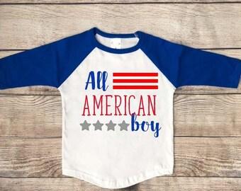 Fourth of July T Shirt | All American Boy Toddler Shirt | Fourth of July Tee | | Fourth of July Infant Bodysuit