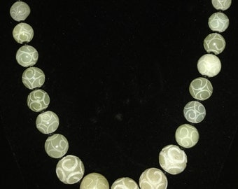 Carved Jade Beaded Necklace and Earring Set