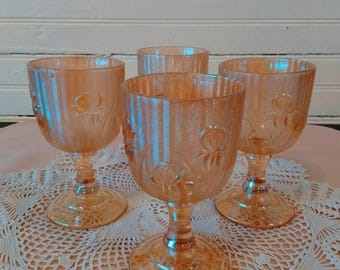 Iris and Herringbone Wine Glasses - Item #1470