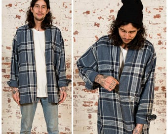 Vintage Plaid Wool Over Shirt / 90s / Size XL