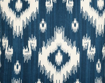 A lovely  Ikat Navy Blue and White Geometric diamond  Pattern    Fabric by the metre