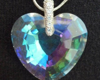 Crystal Glass Heart Pendant Necklace Chain