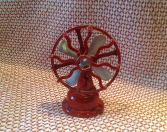 Miniature Red Fan/Pencil Sharpener, Vintage Hong Kong