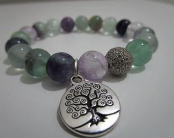 Fluorite, fluorite bracelet, bracelet of semi-precious stones, tree of life, bracelets, bracelet for women, gift for women, Ideas gift