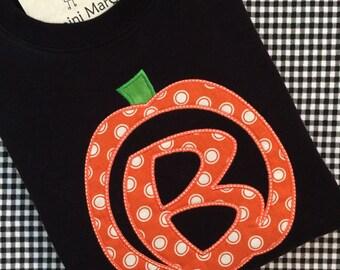 Carved Pumpkin Applique With Alphabet Initial