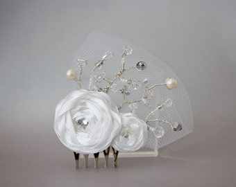 White Roses and Beaded Tulle Hair Comb