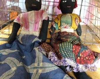 Vintage from 1950's AFRO CARIBBEAN Folk Art Handmade Rag Doll