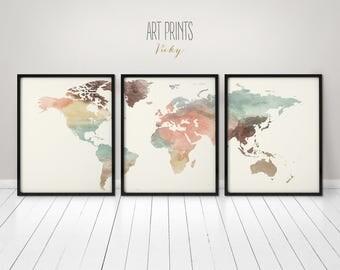World map poster, 3 pieces world map print, Wall art, Art print, Office wall art, Travel gift, Wall decor, Home decor, ArtPrintsVicky