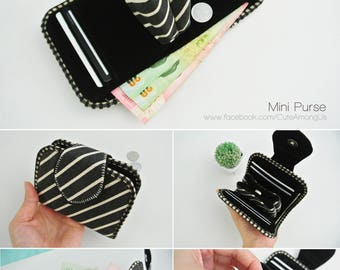 Classic Diagonal Mini Purse, Change Purse, Coin Wallet, Bi-fold Wallet, Canvas Coin Purse, Small Wallet, Magnetic Closure - Made to Order