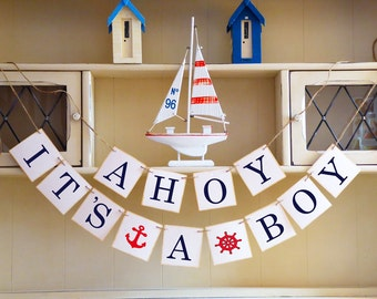 Nautical baby shower, Ahoy it's a boy bunting, Gender reveal party decor