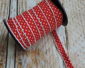 Red Polka Dot Bias Tape. Crochet Bias Tape. Quilt Binding. Craft Supplies. Sewing Supplies. Texas.