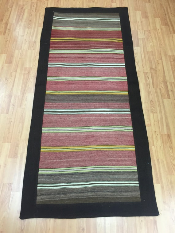 "3' x 6'6"" Turkish Kilim Runner Oriental Rug - Hand Made - 100% Wool"