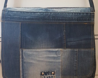 Patchwork bag made of jeans for laptop etc...