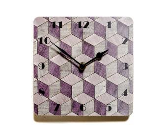 Wall Clock Mauve Birthday Gift Idea Art Deco Wall Clock Mauve Wall clock Melamine Wall Clock Retro Wall Clock Original Present Her E Inder