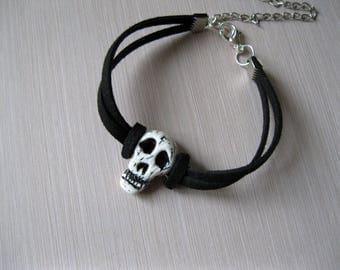 Mens jewelry Skull bracelet for biker jewelry Unisex bracelet Rocker bracelet Vampire jewelry Pagan jewelry Horror jewelry Death metal music