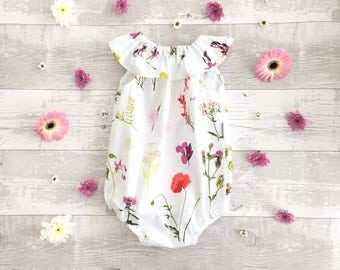 Baby girl romper ruffle collar baby sunsuit baby playsuits baby overalls cake smash outfit newborn romper UK seller handmade Made to order
