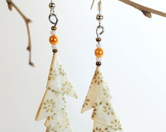 """Triangles white Nuptial"" origami earrings"