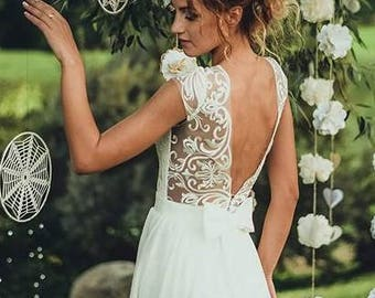 Boho Vintage Inspired Wedding Dress with Lace Corset, Open V cut Lace Transparent Back, Illusion Neckline, Chiffon Skirt