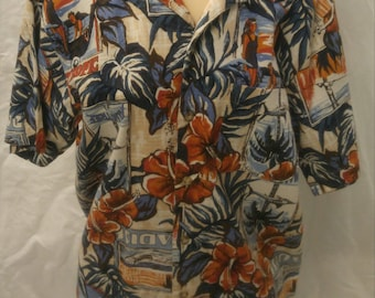 Vintage 1960s barkcloth Hawaiian shirt with luau, hibiscus, sharks, fronds, fishermen size Large