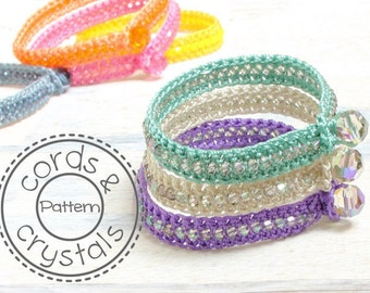 Crochet Bracelet Pattern with Swarovski Crystals - perfect for stacking