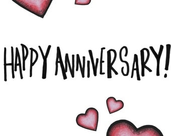A6 Happy Anniversary Simple Red Pink Heart Card Drawing For Her or Him Homemade cards
