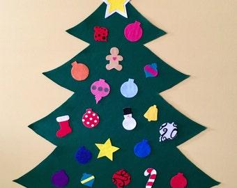Large Felt Christmas Tree- Kid's Christmas Play Tree with Felt Ornaments, Christmas Tree Kids for Wall