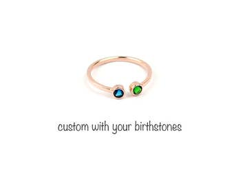 Mothers Birthstone Ring, Dual Birthstone Ring, Custom Mothers Ring, Stacking Ring, Stackable Ring, Rose Gold, Personalized Ring, Gift