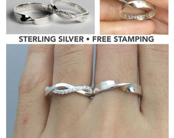 Wedding Ring Set, His and Her Promise Rings, Couples Ring, Personalized Couple Ring, For Couples, Gift For Her, Gift For Him, Promise Rings