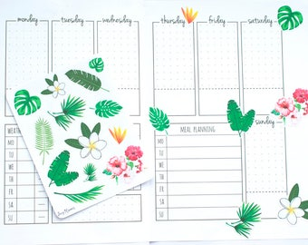 Bujo Plant Stickers, Bullet Journal Stickers, Bujo Tropical Stickers, Plant Planner Stickers, Bujo Deco Stickers, Floral Bujo Stickers