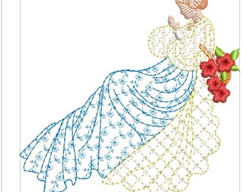 SOUTHERN BELLES with babies machine embroidery download 4 diff sizes ( 3.4 x3.4 5x5 6x6 7x7 )