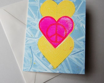 3 Hearts, handmade card