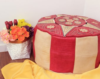 Red and Beige Leather Moroccan Pouf, Ottoman, Handmade Leather Pouf