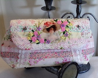 Quilted Clutch Purse Bag Ribbon Embroidery Romantic Victorian Style RPC7-05